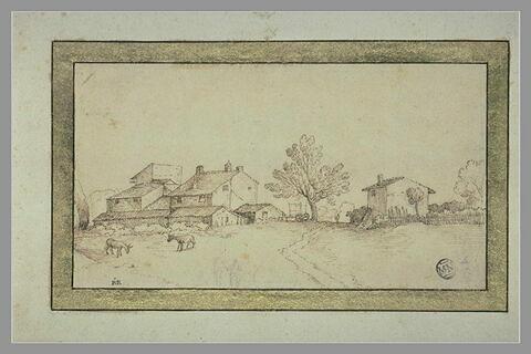 Paysage avec maisons de part et d'autre d'un arbre, une charrette et deux ânes