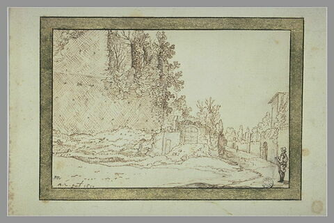 Paysage avec une muraille percée d'une porte et un homme vu de dos, dessinant, à l'entrée d'un chemin