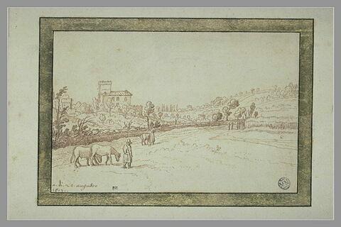 Paysage avec deux paysans marchant sur un chemin le long d'une haie, accompagnant des chevaux