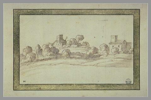 Paysage avec des maisons à tour, entourées d'arbustes, sur une colline