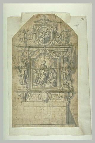 Projet d'autel avec au centre le mariage mystique de sainte Catherine
