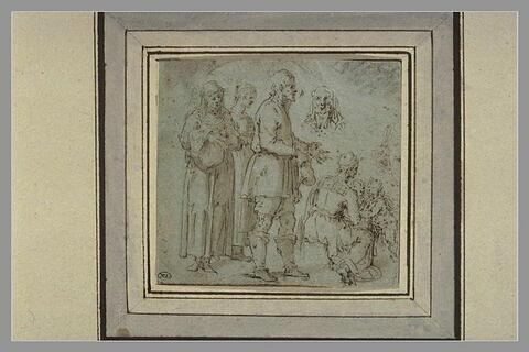 Etudes : trois figures debout, une femme assise et deux enfants, deux têtes