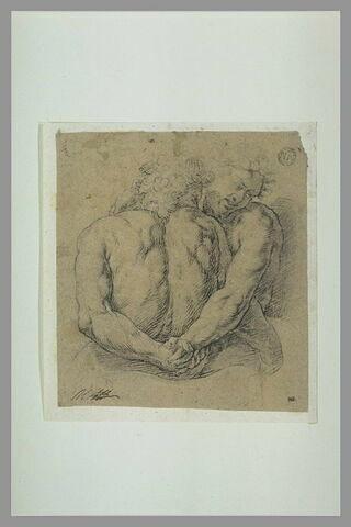 Groupe de deux figures nues, se donnant la main