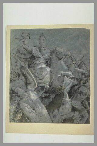 Un évêque à cheval, armé d'un fouet, poursuivant des soldats
