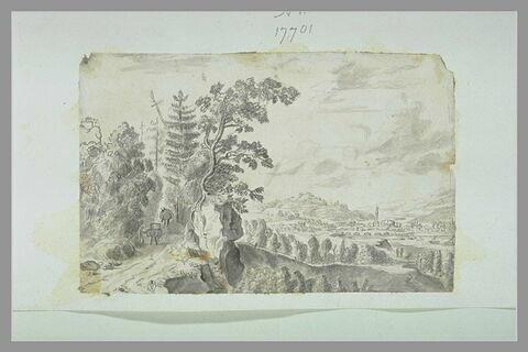 Paysage avec un chemin boisée animée d'une figure et de deux ânes