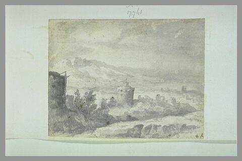 Paysage avec une tour au centre