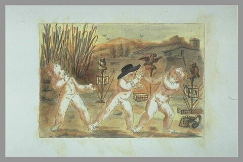 Trois enfants nus, debout jouant ensemble