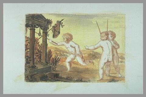 Trois enfants nus, jouant