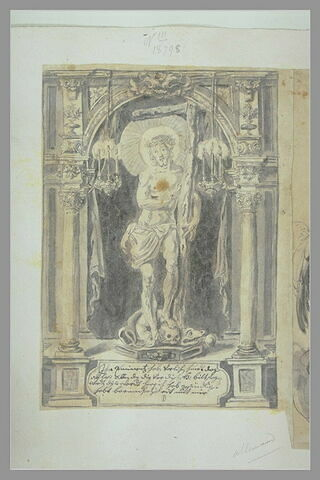 Le Christ debout, tenant une croix, dans une corniche