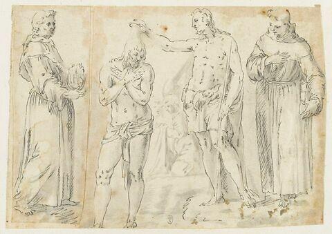 Le Baptême de Christ en présence des saints François et Bernardin de Sienne