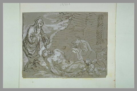 La Vierge et saint Jean auprès du corps du Christ mort