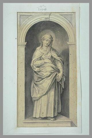 Une sainte debout, de face, la main droite sur son ventre