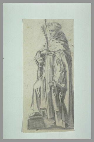 Un saint debout, tenant un livre et une palme de martyre