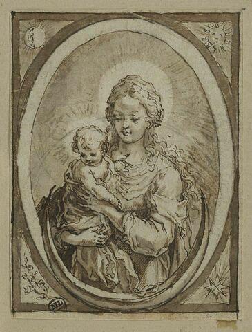La Vierge et l'Enfant avec un croissant, dans un médaillon
