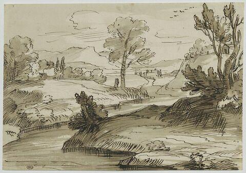 Ruisseau dans un paysage montueux