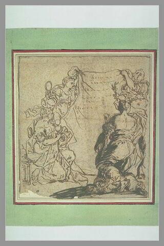 Quatre figures allégoriques tenant un voile portant des inscriptions