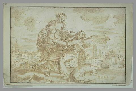 Allégorie : une femme tenant un agneau, repousse une figure ailée