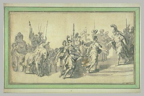 Rencontre d'une reine des amazones et d'un général grec