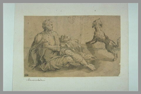 Saint Roch assis et son chien aboyant