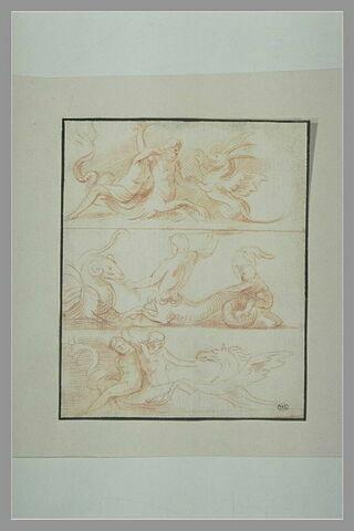 Trois scènes superposées représentant Triton combattant