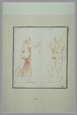 Femme drappée courant vers la droite ; Silène, de profil, jouant de l'aulos