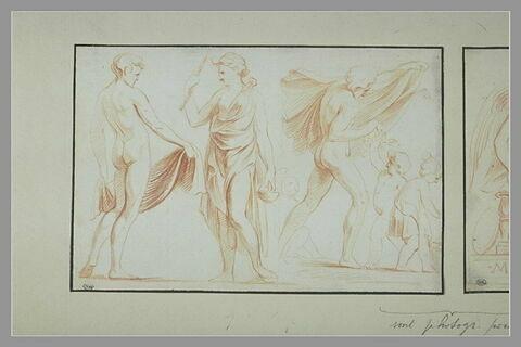 Homme nu et femme drapée ; homme nu tenant une draperie au dessus d'enfants