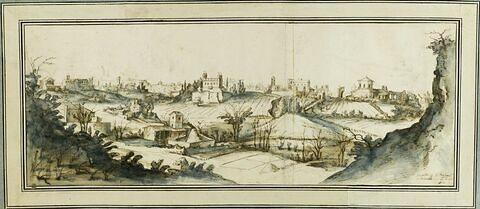 Vue de Rome, depuis le mur d'enceinte près de la Porta Metrovia