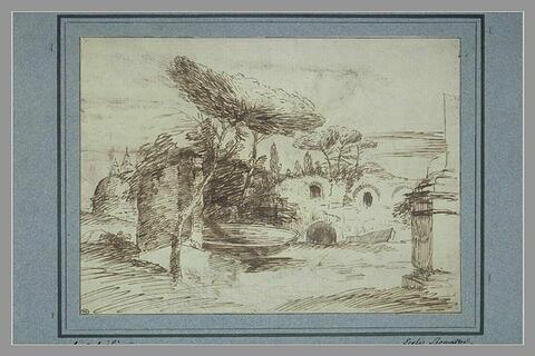Ruines avec une grande vasque de pierre, et des pins parasols