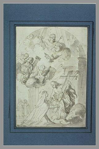 Sainte reçue au ciel par le Christ tenant les instruments de la Passion