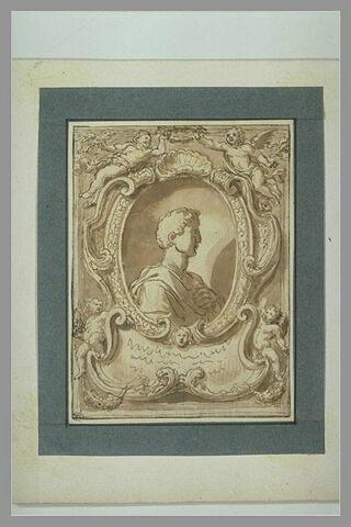 Portrait d'un homme drapé, de profil, entouré d'un cadre et orné