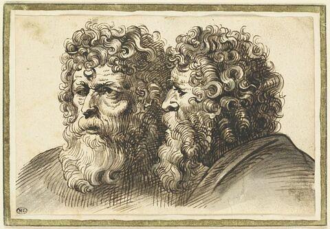 Deux études pour une même tête d'homme