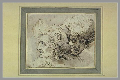 Etude de deux têtes d'hommes