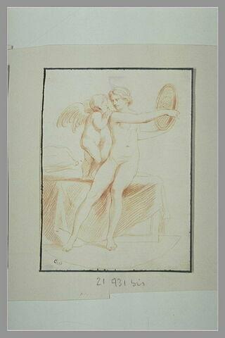 Vénus assise, présentant un miroir à l'Amour