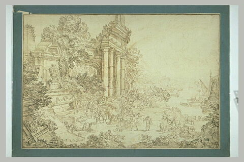 Halte des voyageurs au bord d'une baie parmi les ruines antiques