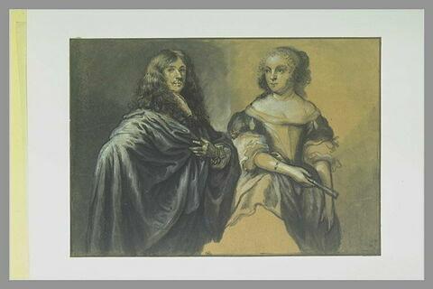Portrait d'un seigneur en manteau et de sa jeune femme