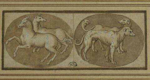 Deux camées à sujets d'animaux : deux chevaux et deux chiens