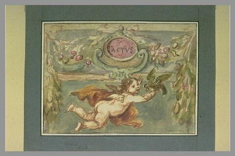Le Toucher, sujet allégorique composé d'un ange tenant un perroquet