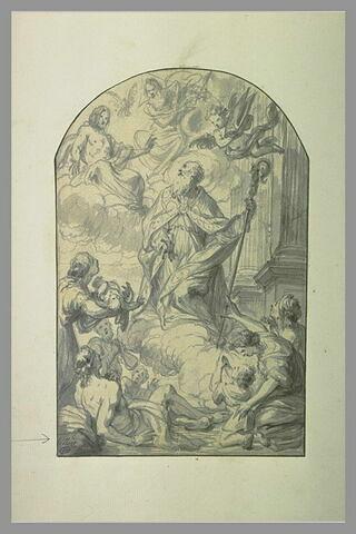 Saint évêque intercédant auprès de la Sainte Trinité pour les malheureux
