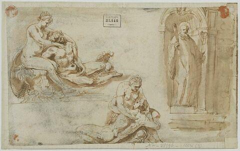 Deux études de Mars et Vénus et un saint dans une niche