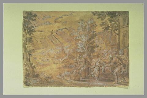La Vierge lavant le linge à coté de Jésus et Joseph