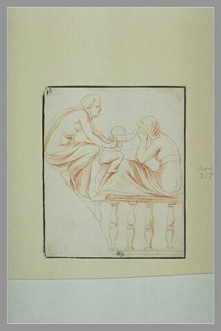 Deux femmes, à demi drapées, assises, et un enfant nu