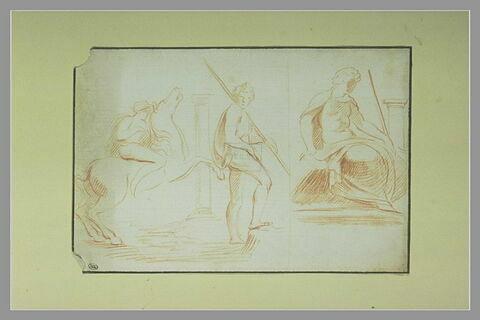 Un cavalier et un homme à demi drapé, debout ; un homme à demi drapé assis
