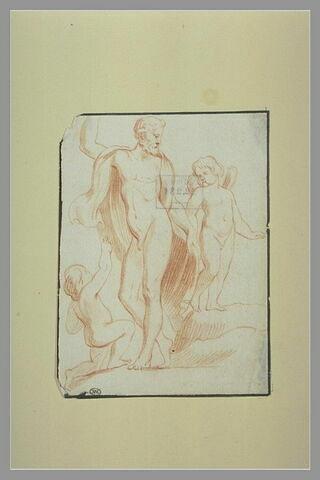 Un homme nu debout entre deux enfants dont un est ailé