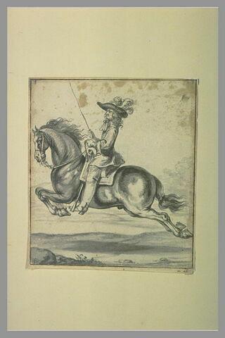 Cavalier sur un cheval 'volant en capriole'