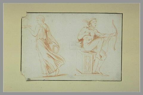 Une figure drapée dansant ; Mercure, assis, tenant un arc