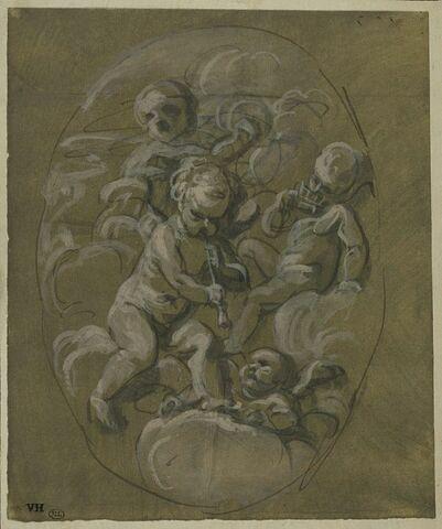 Quatre amours musiciens, sur des nuées, en médaillon