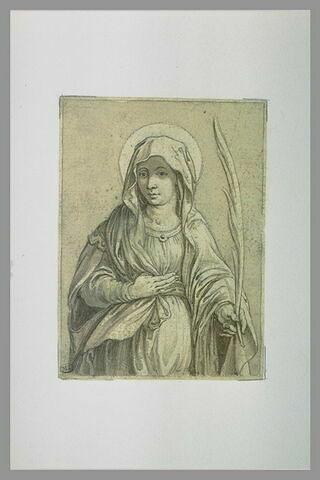 Sainte, vue de face, tenant la palme du martyre