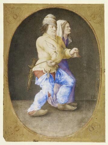 Couple de paysans dansant