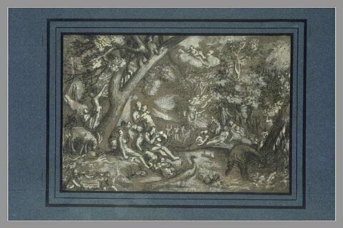 L'Age d'or : intérieur de forêt, animé de figures et d'animaux