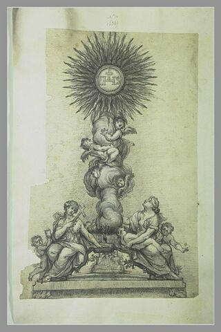 Un ostensoir surmonté du monogramme du Christ